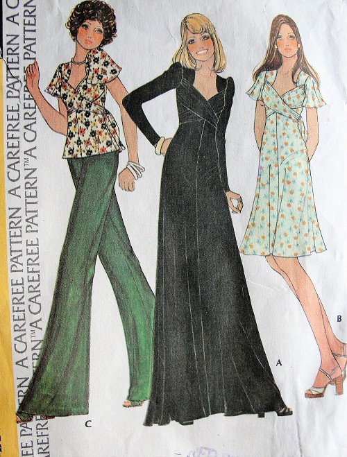 1970s Retro LOVELY Dress or Top in Three Styles with Criss-Cross Sash McCall's 4288 Vintage Sewing Pattern Bust 34