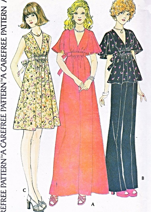 1970s Disco Low V Neck Dress Gown or Top Pattern McCALLS 4316 Flirty Dress In 2 Lengths Cute Cape Sleeve Version Bust 32.5 Vintage Sewing Pattern FACTORY FOLDED