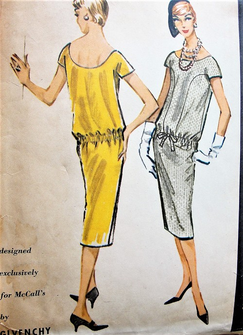 1950s Original GIVENCHY Designed Chemise Dress Pattern McCALLS 4443 Stylish Daytime or Cocktail Party Eye Catching Design Bust 34 Vintage Sewing Pattern