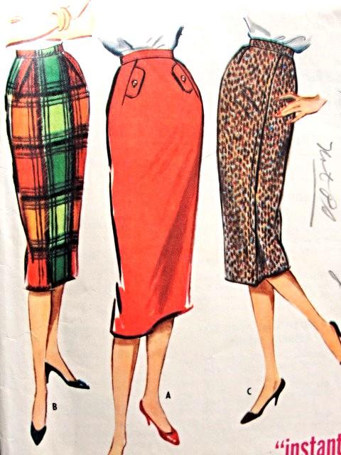 1950s Classy Pencil Skirt Pattern McCALLS 4680 One Yard One Pattern ...