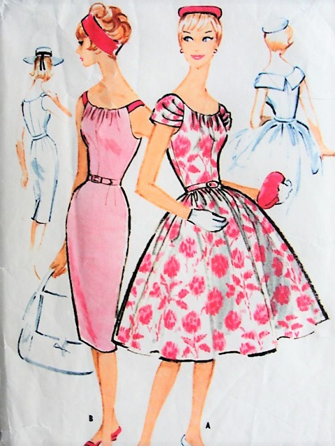 1950s GLAM Draped Neckline Slim or Full Skirt Cocktail Party Dress Pattern McCALLS 4957 Two Flattering Designs Bust 31 Vintage Sewing Pattern