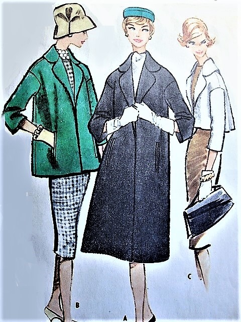 1950s CHIC Coat Pattern McCALLS 5140 Three Lengths Cropped Jacket,Below Hip Jacket and Regular Length Coat Bust 38 Vintage Sewing Pattern