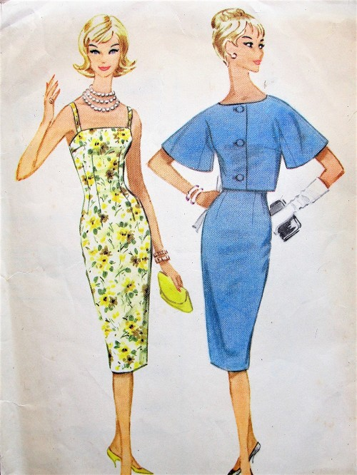 1960s STUNNING Cocktail Party Evening Dress Pattern McCALLS 5400 Eyecatching Camisole Top Sheath Dress and Jacket Bust 31 Vintage Sewing Pattern