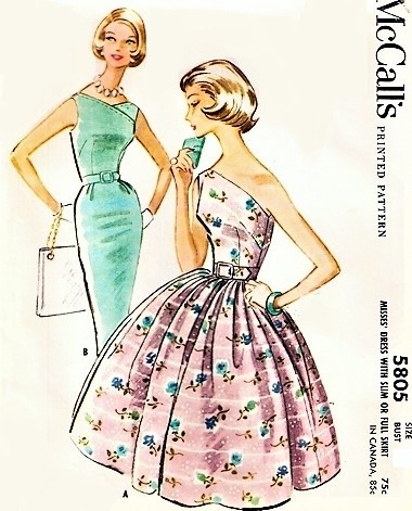 1960s STUNNING One Shoulder Evening Cocktail Party Dress Pattern McCALLS 5803 Slim or Full Skirt Figure Flattering 2 Styles Bust 32 Vintage Sewing Pattern