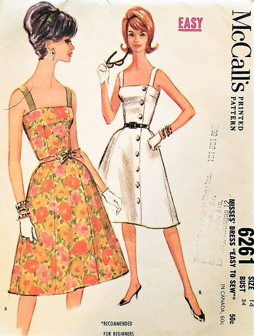 1960s LOVELY Camisole Top Flared Dress Pattern McCALLS 6261 Easy To ...