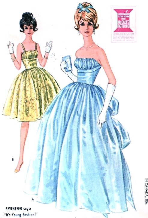 1960s Beautiful Formal Ball Gown Or Cocktail Dress Pattern McCALLS 6570 Bouffant Evening 2 Lengths