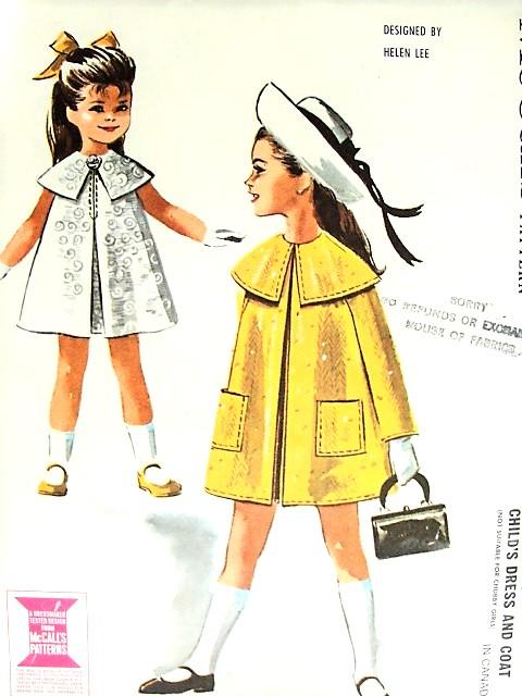 1960s Helen Lee Designer Little Girls Dress And Cape Collar Coat