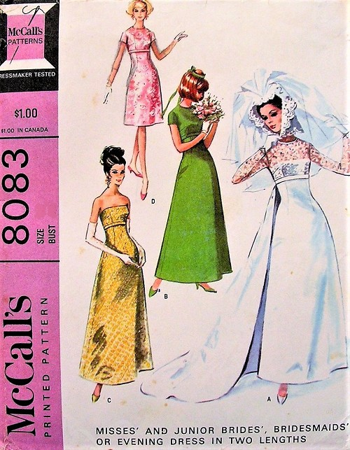 1960s GORGEOUS Empire Wedding Dress Bridal Gown Pattern McCALLS 8083 Four Versions, Strapless Long Sleeve Classic Chic Wedding Bridesmaid Pageant Prom Dress Gown Bust 32 Vintage Sewing Pattern FACTORY FOLDED