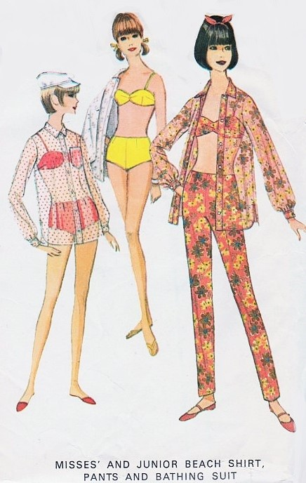 901347a9a2 Mod 1960s Bathing Suit Beach Shirt Cover Up and Slim Pants Pattern McCALLS  8314 Cute 2 ...