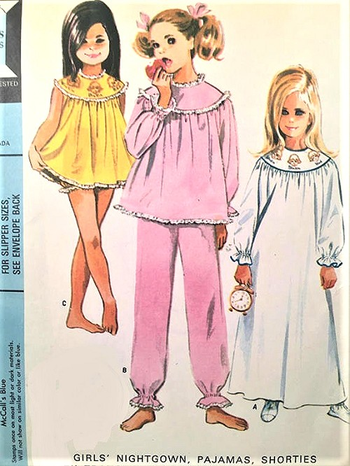 1960s CUTE Girls Pajamas Nightgown Baby Doll Nightie and Slippers ...
