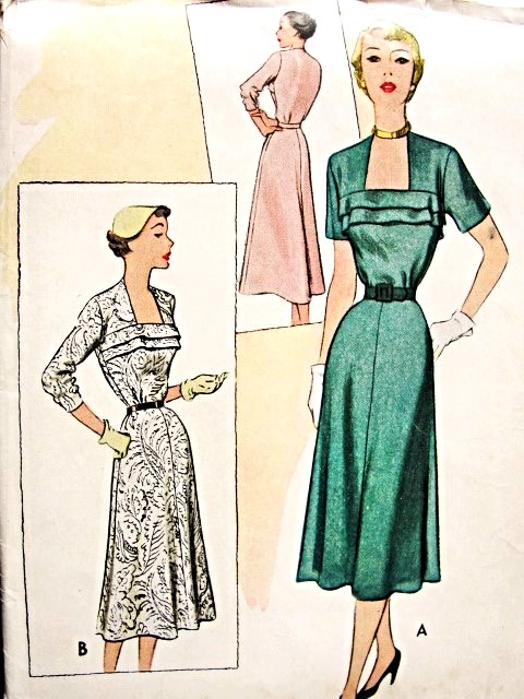 1950s Beautiful Dress Pattern McCALLS 8514 Striking Neckline Daytime or Cocktail Dress Bust 30 Vintage Sewing Pattern FACTORY FOLDED