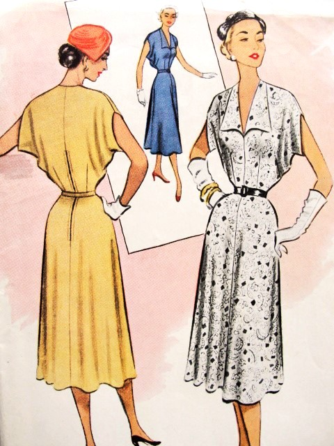 1950s Beautiful Dress Pattern McCALLS 8548 Easy To Make Day or Cocktail Dress  Bust 38 Vintage Sewing Pattern