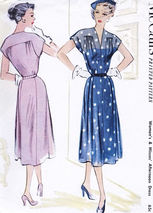 1950s BEAUTIFUL Dress Pattern McCALLS 8578 Daytime or Afternoon Dinner Dress Perfect For Sheer Fabrics Bust 36 Vintage Sewing Pattern