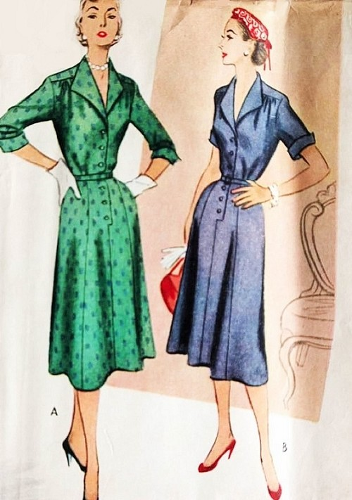 1950s Stylish Tailored Dress Pattern McCALLS 8732 Front Button Wing Cuffs V Neckline Day or After 5 Dress Bust 30 Vintage Sewing Pattern FACTORY FOLDED