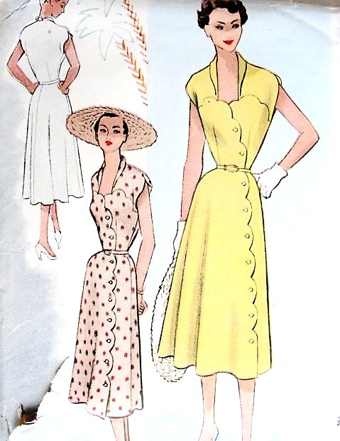 1950s STUNNING Summer Dress Pattern McCALLS 8785 Beautiful Scalloped Front Button Dress, Sweetheart Neckline Day or Party Dress Bust 38 Vintage Sewing Pattern