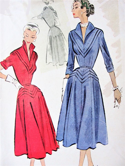 1950s LOVELY Afternoon Party Dress Pattern McCALLS 8896 Eyecatching Wing Collar, V Neckline, Flared Dress, Daytime or Cocktail Dinner Dress Bust 32 Vintage Sewing Pattern FACTORY FOLDED