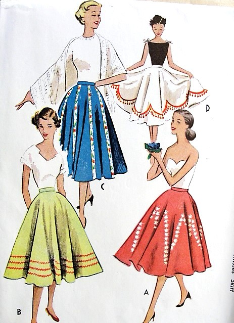 1950s FAB Full Circle Skirt Pattern McCALLS 8960 Four Versions Waist 26  Easy To Sew Vintage Sewing Pattern