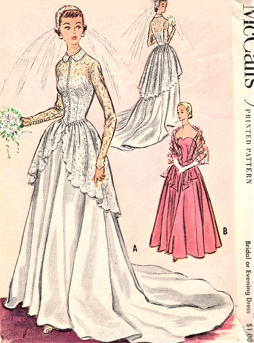 1950s GORGEOUS Bridal Dress or Evening Gown Pattern McCALLS 9266 ...