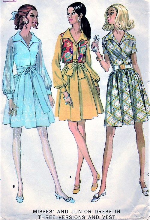 1960s LOVELY Day or Party Dress and Vest Pattern McCALLS 9540 Three Style Versions Bust 38 Vintage Sewing Pattern UNCUT