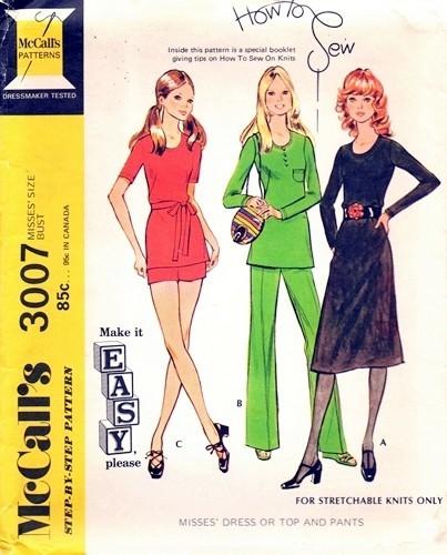 70s A Line Dress, Tunic , Shorts Hot Pants or Pants Pattern McCalls ...