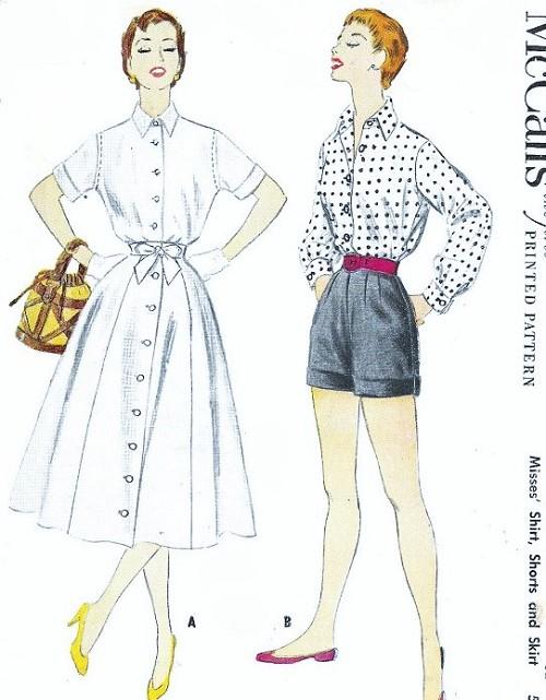 1950s Weekend Wear Pattern McCALLS 3064 Front Button Skirt ...