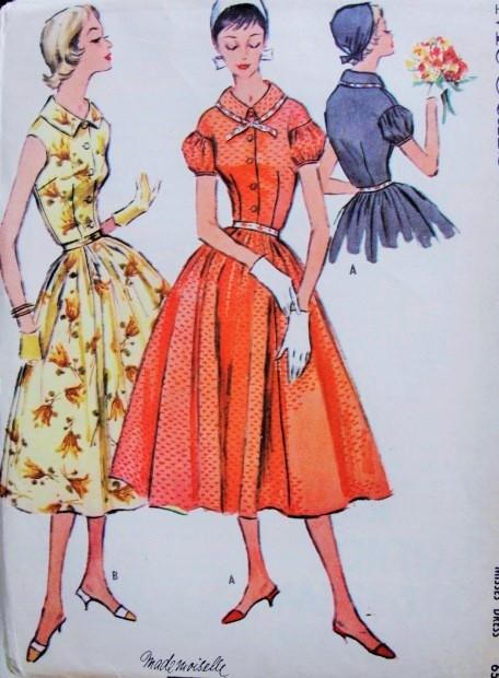 Very 1950s Pretty Shirt Waist Dress Pattern McCall's 3650 Sleeveless or  NL37