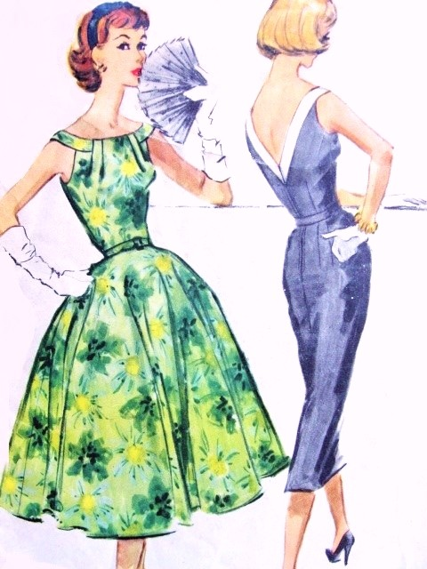 1950s BEAUTIFUL Cocktail Party Dress Pattern McCalls 4417 Eye Catching Gathered Neckline Low V Back, Full or Slim Skirt Bust 34 Vintage Sewing Pattern