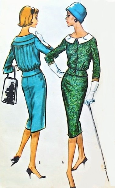 1950s CLASSY Suit or Suit Dress Pattern McCALLS 4706 Pencil Slim Skirt Lovely Bloused Back Jacket Bust 34 Vintage Sewing Pattern