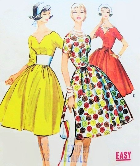 d61121743d2 1950s FABULOUS Dress Pattern McCALLS 4965 Beautiful Choice of Three Bodices  Keyhole
