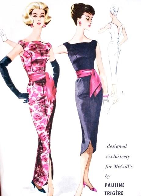 1950s Dramatic Pauline Trigere Evening Dress Pattern Mccalls 5131