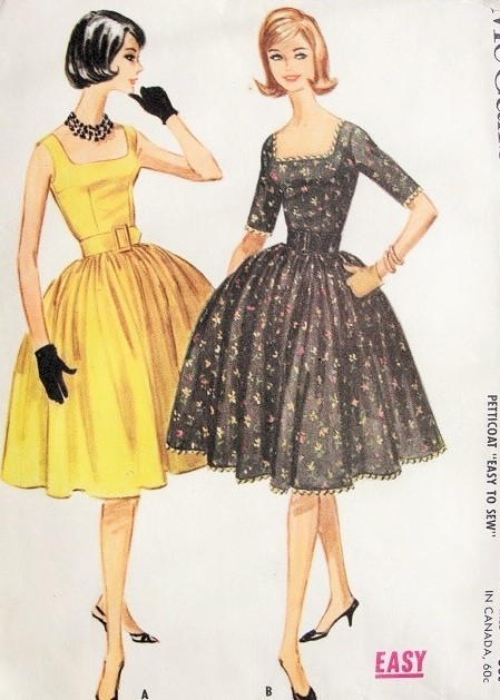 5ef8bd67b7 1960s LOVELY Cocktail Party Dress Pattern McCALLS 5729 Square Neckline Full  Skirt With Attached Petticoat 1960 Miss America Style ...