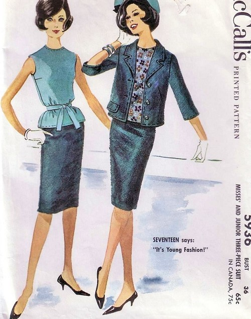 1960s Tippi Hedren Style Suit Pattern McCalls 5936 Slim Skirt, Overblouse and Boxy Jacket  Bust 31.5 or 36  Vintage Sewing Pattern
