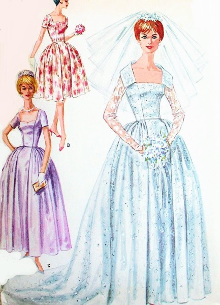1960s Beautiful Wedding Dress Bridal Gown Pattern Portrait or Sweetheart Neckline, Bridesmaid Version Included McCalls 6126 Vintage Sewing Pattern  Bust 31 UNCUT FACTORY FOLDED