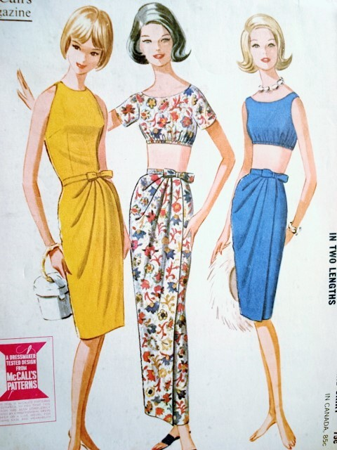 1960s Classy Sarong Draped Wrap Skirt and Tops Pattern McCalls 6822 ...