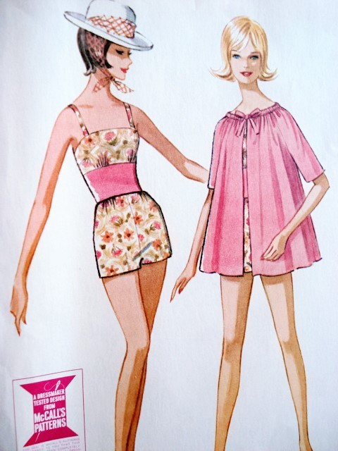 Early 60s Bathing Suit And Beach Coat Pattern Mccalls 6861