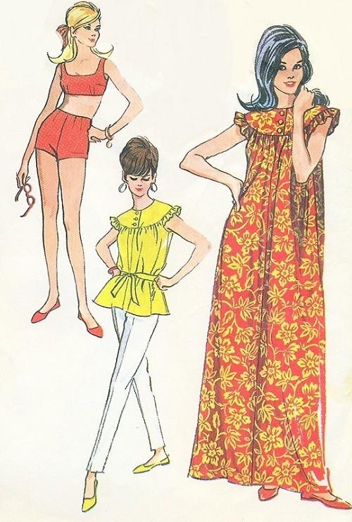 1960s Gidget Style Beach Wear Pattern Two Pc Swimsuit, Top, Slim ...