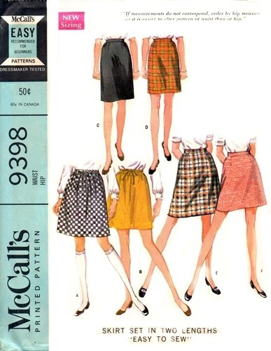 1960s Cute Skirts Pattern Easy To Sew Beginners Pattern Two Skirt ...