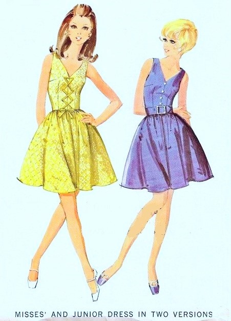LOVELY 1960s  Dress Pattern  McCALLS 9477 Deep V Neckline Two Style Versions Includes Front Lace Up Daytime or Party Dress Full Skirt Bust 38 Vintage Sewing Pattern