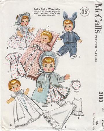 1950s Baby Dolls Wardrobe Pattern Mccalls 2183 Vintage Sewing
