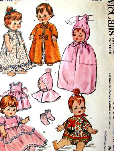 1960s Doll Clothes Pattern McCalls 6993 Vintage Sewing Pattern Baby ...