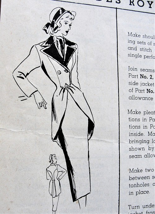 1940s DRAMATIC Suit Pattern MODES ROYALE 433 Slim Skirt With GORGEOUS Front Cutaway Longer Length Jacket With Back Pleats Bust 34 Vintage Sewing Pattern
