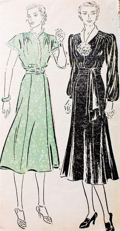 1930s BEAUTIFUL Dress Pattern NEW YORK 937 Shirred Shoulders Two Lovely Sleeve Styles Day or Evening Bust 34 Vintage Sewing Pattern FACTORY FOLDED