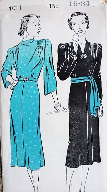 1930s BEAUTIFUL Day or Evening Dress Pattern  NEW YORK 1011 Two Lovely  Art Deco Styles Bust 34 Vintage Thirties Sewing Pattern FACTORY FOLDED