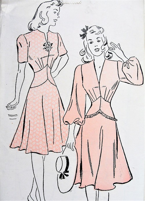 1940s FABULOUS Swing Era Dress Pattern NEW YORK 1646 Beautifully Fitted Day or Party Dress 2 Versions Figure Flattering Design Bust 33 Vintage Sewing Pattern FACTORY FOLDED