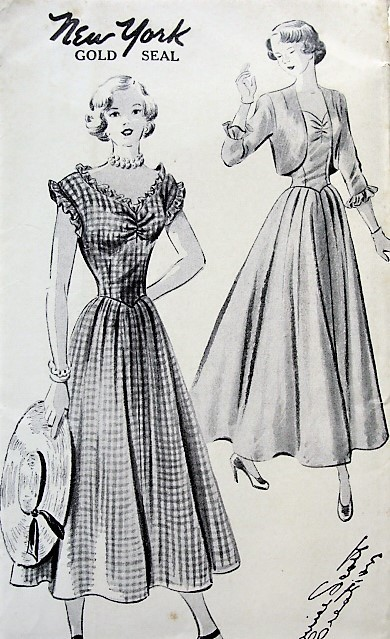 1940s FLIRTY Day or Party Dress and Jacket Pattern NEW YORK 426 Louise Scott Creation, Basque Dress in 2 Lengths, Low Neckline, Ruffled and Shirring, Flattering Design Bust 34 Vintage Sewing Pattern FACTORY FOLDED