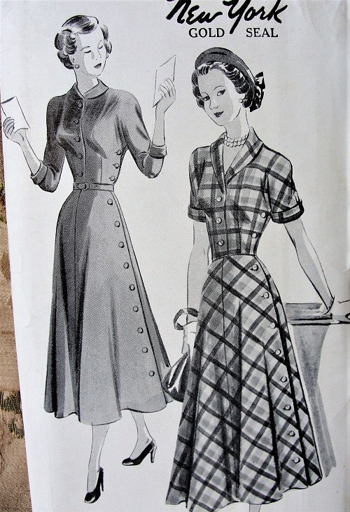 1940s STYLISH Side Button Dress Pattern NEW YORK 484 Louise Scott Designer Flared Skirt Dress Day or Dinner Dress, Two Versions, Kimono Sleeves,Bust 35 Vintage Sewing Pattern FACTORY FOLDED
