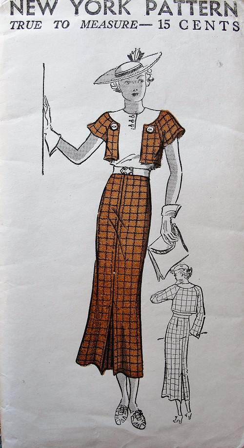 1930s ART DECO Lovely Dress Pattern NEW YORK 516 Faux Bolero Dress, Lovely Design With 2 Sleeve Styles Bust 38 Vintage Sewing Pattern FACTORY FOLDED