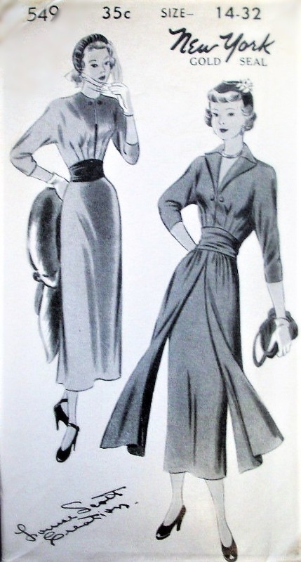 1940s CHIC Slim Day or Evening Dress Pattern NEW YORK 549 Louise Scott Creation 2 Style Versions Slit Neckline with Inset Vestee or V Neckline, Skirt Panels Bust 34 Vintage Sewing Pattern FACTORY FOLDED