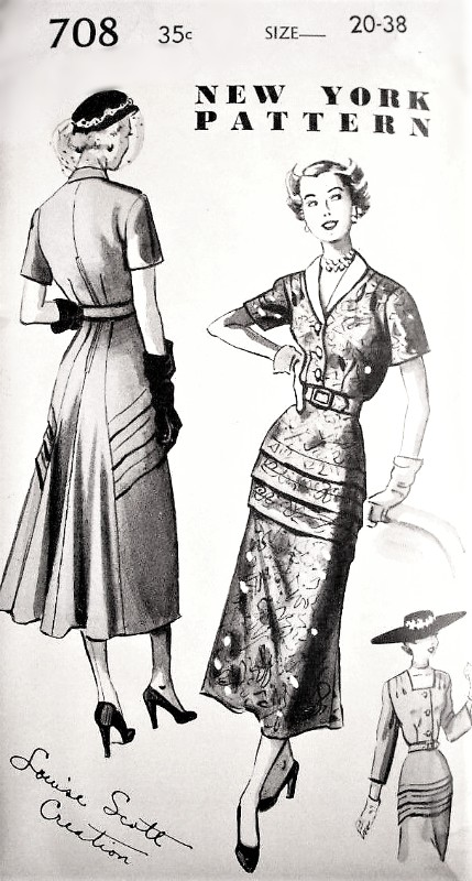 1940s BEAUTIFUL Cocktail Dinner Party Dress Pattern NEW YORK 708 Louise Scott Creation Unique Design Slim Tucked Peplum Front , Flowing Back Bust 38 Vintage Sewing Pattern FACTORY FOLDED