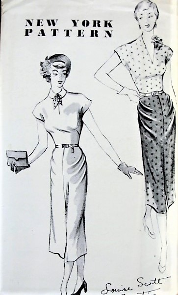1940s UNIQUE Slim Dress Pattern NEW YORK 728  Key Hole or Slit Neckline With Interesting Pleat Details, Day or Cocktail Party Evening Dress Bust 36 Vintage Sewing Pattern FACTORY FOLDED